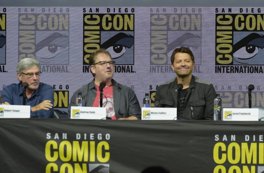 SAN DIEGO, CA - JULY 22: (L-R) Robert Singer, Andrew Dabb and Misha Collins speak onstage at the