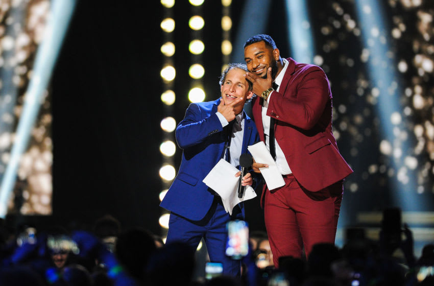 CALGARY, AB - SEPTEMBER 08: Dane Rupert (L) and Anthony Douglas of Big Brother Canada season 7 take to the stage during the 2019 Canadian Country Music Awards at Scotiabank Saddledome on September 8, 2019 in Calgary, Canada. (Photo by Derek Leung/Getty Images)