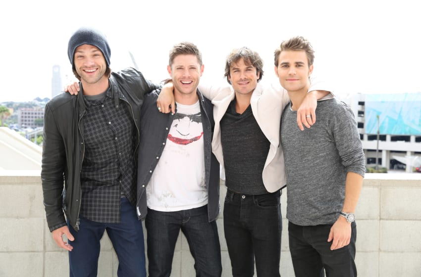SAN DIEGO, CA - JULY 12: In this handout photo provided by Warner Bros. Entertainment, Inc, (L-R) SUPERNATURAL stars Jared Padalecki and Jensen Ackles with THE VAMPIRE DIARIES stars Ian Somerhalder and Paul Wesley cross paths before their respective sessions during Comic-Con International 2015 on July 12, 2015 in San Diego, California. (Chris Frawley/Warner Bros. Entertainment, Inc via Getty Images)