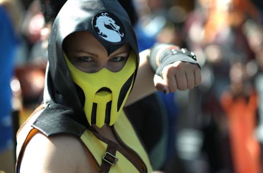 NEW YORK, NY - OCTOBER 07: A cosplayer dressed as Scorpion from Mortal Kombat attends the New York Comic Con 2016 at The Jacob K. Javits Convention Center on October 7, 2016 in New York City. New York Comic Con is one of the largest comic book and science fiction conventions. The convention brings together fans of fantasy role playing, science fiction, movies and television. (Photo by Neilson Barnard/Getty Images)