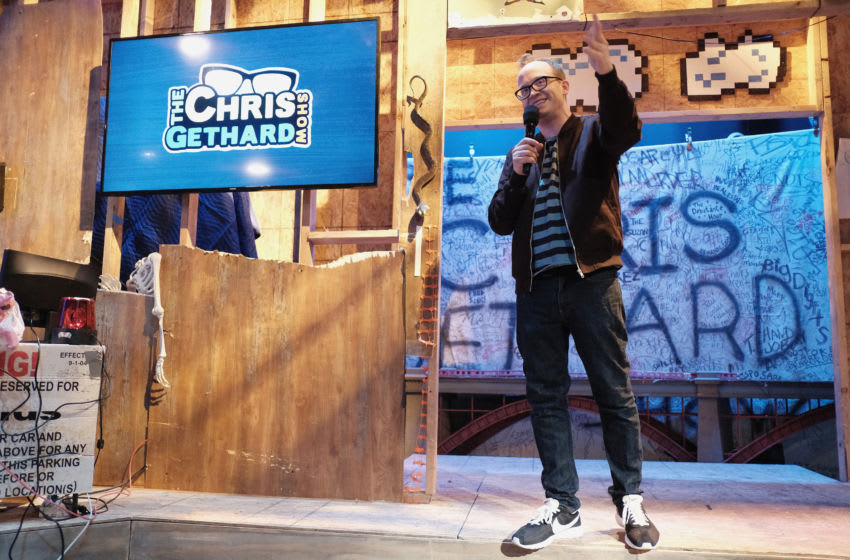 NEW YORK, NY - AUGUST 01: Chris Gethard speaks on stage during truTV's The Chris Gethard Show press event on August 1, 2017 in New York City. 27089_002 (Photo by Jason Kempin/Getty Images for truTV)