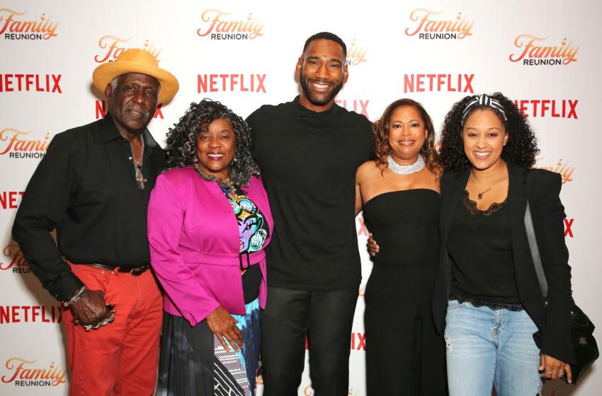 LOS ANGELES, CALIFORNIA - JUNE 24: (L-R) Richard Roundtree, Loretta Devine, Anthony Alabi, Executive Producer Meg DeLoatch and Tia Mowry attend the Netflix