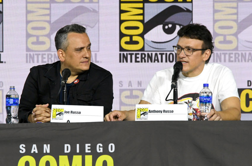 SAN DIEGO, CALIFORNIA - JULY 19: Joe Russo and Anthony Russo speak at the Writing