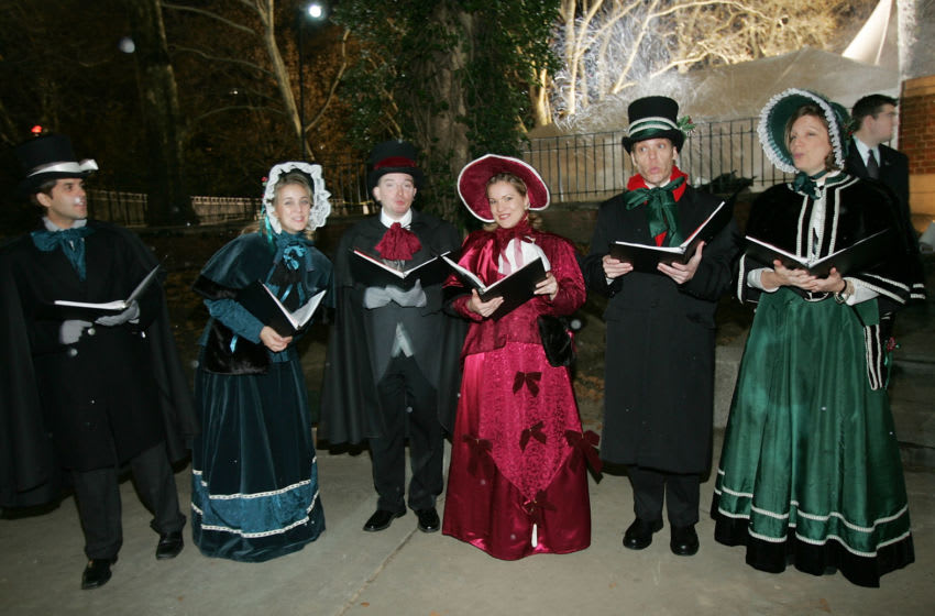 NEW YORK - NOVEMBER 15: Christmas carolers greet guests at the