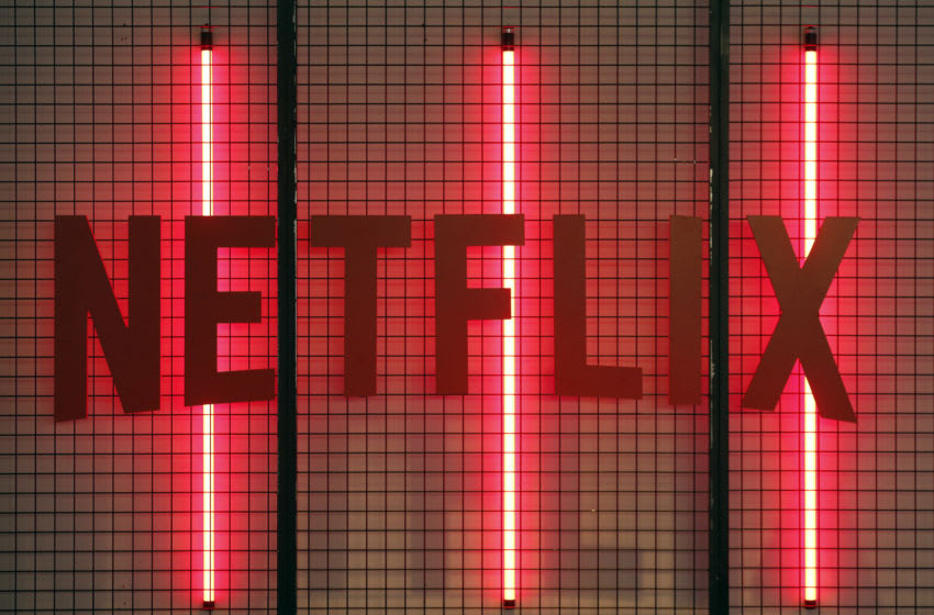 PARIS, FRANCE - NOVEMBER 02: Netflix logo is displayed during the 'Paris Games Week' on November 02, 2017 in Paris, France. Netflix is an American company offering streaming movies and TV series on the Internet. 'Paris Games Week' is an international trade fair for video games and runs from November 01 to November 5, 2017. (Photo by Chesnot/Getty Images)