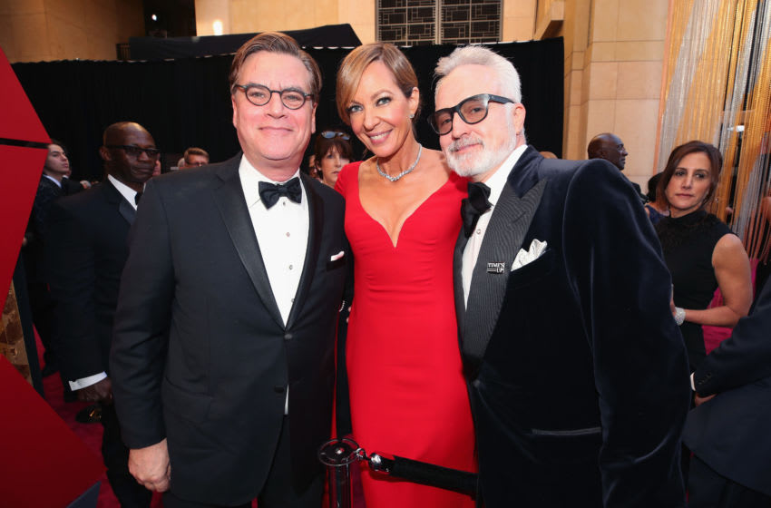 HOLLYWOOD, CA - MARCH 04: (L-R) Aaron Sorkin, Allison Janney, and Bradley Whitford attend the 90th Annual Academy Awards at Hollywood & Highland Center on March 4, 2018 in Hollywood, California. (Photo by Christopher Polk/Getty Images)