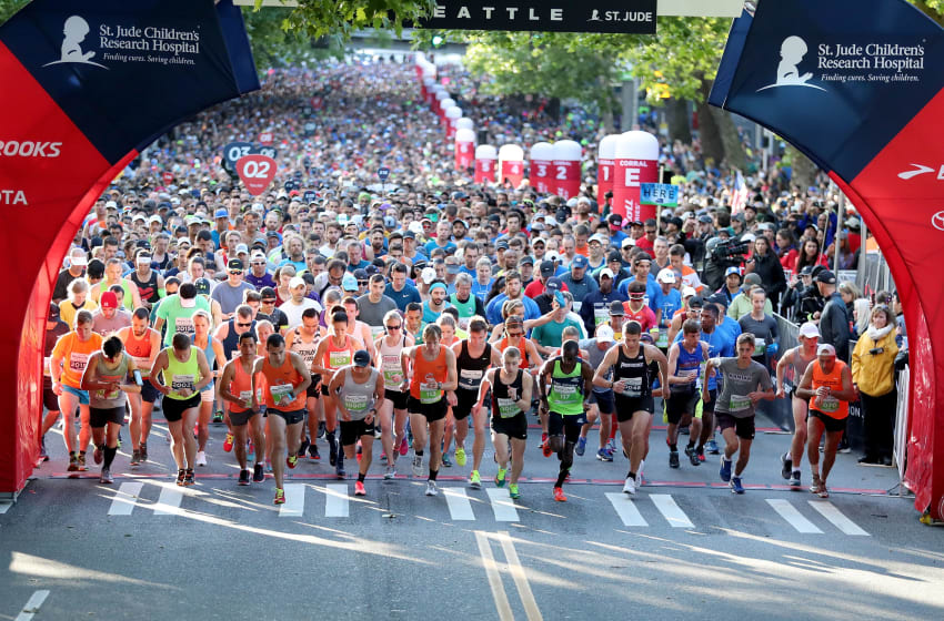 SEATTLE, WA - JUNE 10: Runners compete during the St. Jude Rock 'n' Roll Seattle Marathon & 1/2 Marathon on June 10, 2018 in Seattle, Washington. (Photo by Abbie Parr/Getty Images for Rock'n'Roll Marathon)