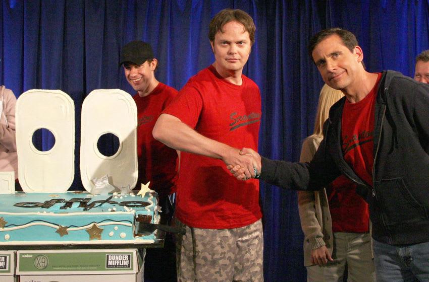 MALIBU, CA - APRIL 14: Actors Rainn Wilson (L) and Steve Carell attend