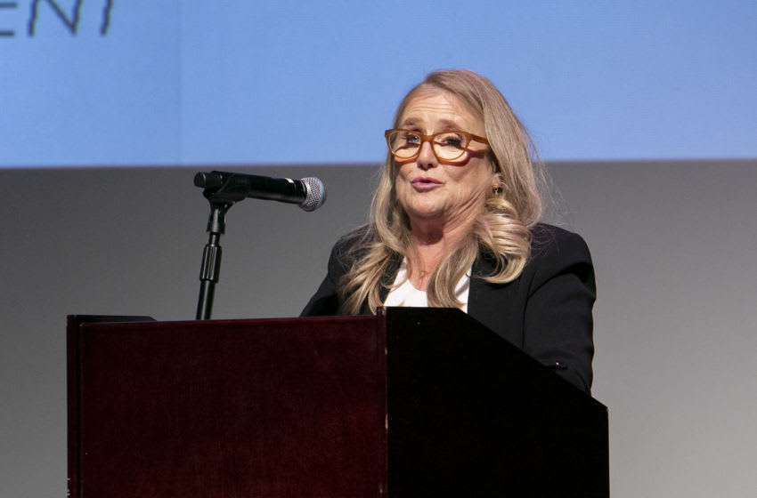 DULUTH, MINNESOTA - OCTOBER 12: Lifetime Achievement Awards Honoree Nancy Cartwright speaks at her keynote address at the Catalyst Content Festival on October 12, 2019 in Duluth, Minnesota. (Photo by Jeff Schear/Getty Images for Catalyst Content Festival)