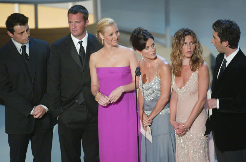 The cast of Friends at the 54th Annual Primetime Emmy Awards held at the Shrine Auditorium in Los Angeles, CA., 9/22/02. Photo by Frank Micelotta/ImageDirect
