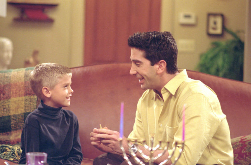 385848 23: Actors Cole Mitchell Sprouse (Big Daddy) as Ben and David Schwimmer as Ross Geller star in NBC's comedy series