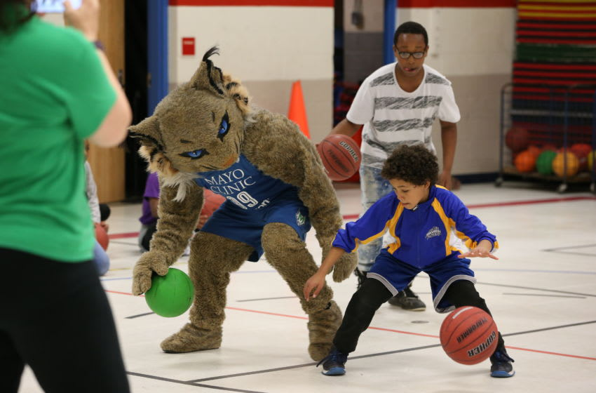 COTTAGE GROVE, MN - APRIL 18: Minnesota Lynx mascot Prowl and the Lynx Basketball Academy surprise children at Crestview Elementary School with a free basketball clinic on April 18, 2017 in Cottage Grove, Minnesota. NOTE TO USER: User expressly acknowledges and agrees that, by downloading and or using this Photograph, user is consenting to the terms and conditions of the Getty Images License Agreement. Mandatory Copyright Notice: Copyright 2017 NBAE (Photo by David Sherman/NBAE via Getty Images)