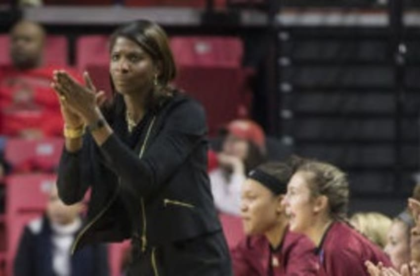 COLLEGE PARK, MD - MARCH 17: Elon head coach Charlotte Smith during a Div. 1 NCAA Women's basketball 1st. round game between Elon and West Virginia on March 17, 2017, at Xfinity Center in College Park, Maryland. West Virginia defeated Elon 75-62. (Photo by Tony Quinn/Icon Sportswire via Getty Images)