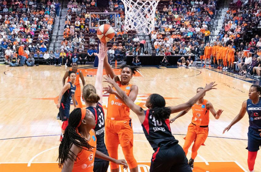 Connecticut Sun forward Alyssa Thomas (25) shoots during the WNBA game between the Washington Mystics and the Connecticut Sun at Mohegan Sun Arena, Uncasville, Connecticut, USA on May 25, 2019. Photo Credit: Chris Poss