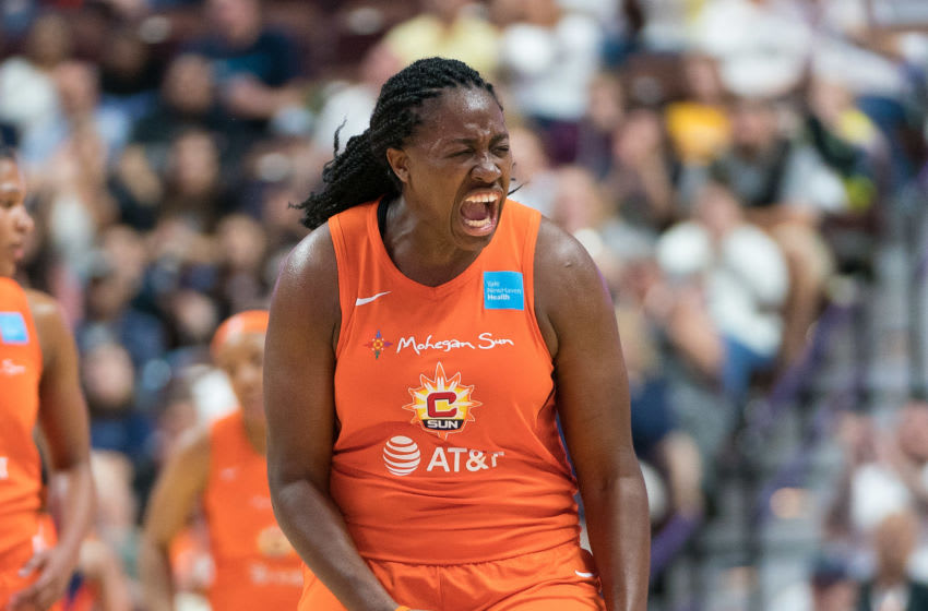 Connecticut Sun guard Shekinna Stricklen (40) celebrates hitting a 3-point shot during the WNBA game between the Seattle Storm and the Connecticut Sun at Mohegan Sun Arena, Uncasville, Connecticut, USA on June 16, 2019. Photo Credit: Chris Poss