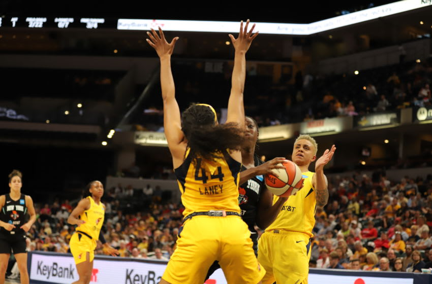 Indiana Fever guard Betnijah Laney's defense has helped the Fever win three of their first five games in 2019. Here, she stops Tina Charles during a game against the New York Liberty on June 1, 2019. Photo by Kimberly Geswein