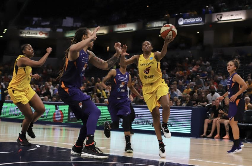 Indiana Fever guard Kelsey Mitchell tied her career high with 26 points during Indiana's 94-87 loss to Phoenix on June 9, 2019. Mitchell scored 22 in the second half. Photo by Kimberly Geswein