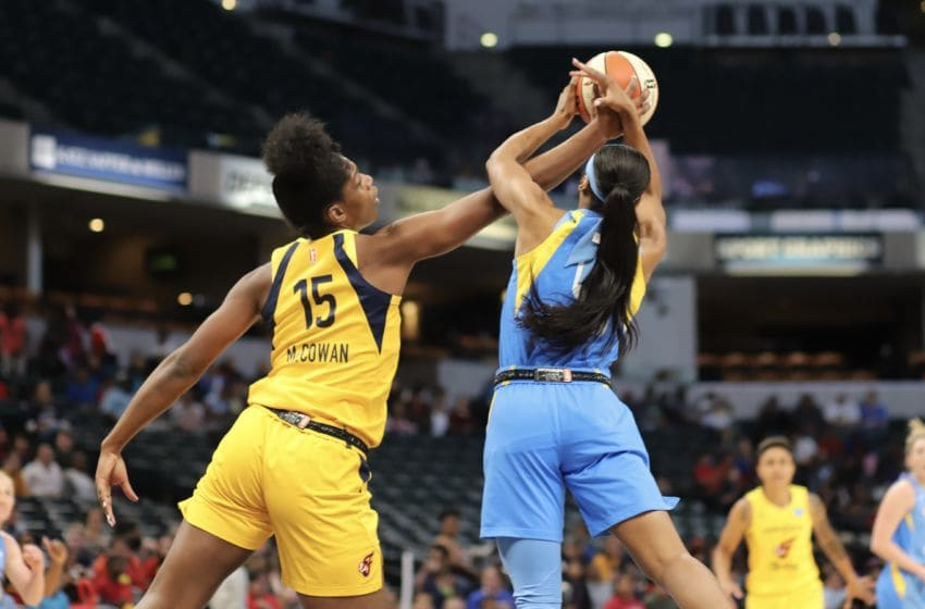 Indiana Fever rookie Teaira McCowan battles for a rebound during a preseason game against the Chicago Sky on May 16, 2019. Photo by Kimberly Geswein
