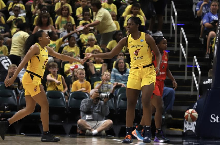 Indiana Fever rookie Teaira McCowan had her third double-double of the season during the Fever's loss to Las Vegas on July 10, 2019. McCowan finished with 11 points and a game-high 12 rebounds. Photo by Kimberly Geswein