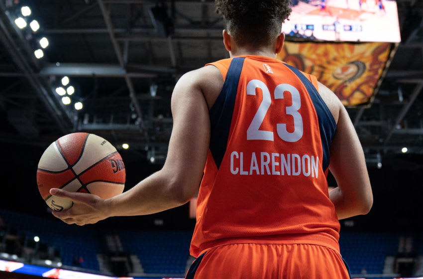 Connecticut Sun guard Layshia Clarendon (23) during the WNBA game between the Dallas Wings and the Connecticut Sun at Mohegan Sun Arena, Uncasville, Connecticut, USA on May 14, 2019. Photo Credit: Chris Poss