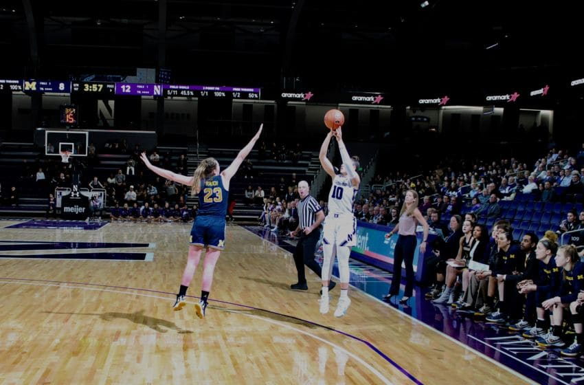 Northwestern's Lindsey Pulliam shoots against Michigan on Jan. 30 (photo courtesy of Andy Brown)
