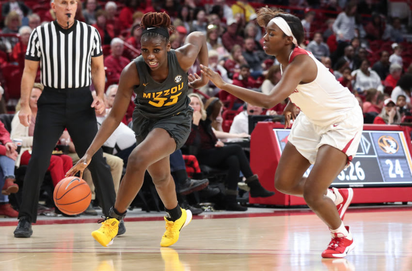 Mizzou guard Aijha Blackwell (33). Mizzou Tigers vs. Arkansas in Fayetteville, Ark. on Sunday, Jan. 12, 2020. Hunter Dyke/Mizzou Athletics