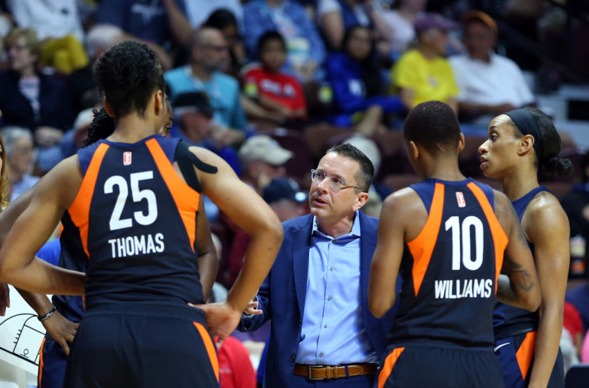 UNCASVILLE, CT - AUGUST 01: Connecticut Sun head coach Curt Miller speaks with his team during a WNBA game between New York Liberty and Connecticut Sun on August 1, 2018, at Mohegan Sun Arena in Uncasville, CT. Connecticut defeated New York 92-77. (Photo by M. Anthony Nesmith/Icon Sportswire via Getty Images)