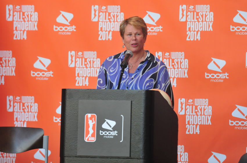 PHOENIX, AZ - JANUARY 22: Ann Meyers Drysdale, Vice President of the Phoenix Mercury addresses the media during the announcement of the Boost Mobile WNBA All Star 2014 Game at the US Airway Center in Phoenix on July 19, 2014 on January 22, 2014 at U.S. Airways Center in Phoenix, Arizona. NOTE TO USER: User expressly acknowledges and agrees that, by downloading and or using this photograph, user is consenting to the terms and conditions of the Getty Images License Agreement. Mandatory Copyright Notice: Copyright 2014 NBAE (Photo by Barry Gossage/NBAE via Getty Images)