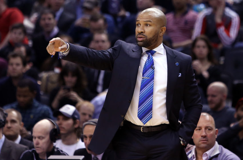 TORONTO, ON - JANUARY 28: Head Coach Derek Fisher of the New York Knicks gestures to his players during an NBA game against the Toronto Raptors at the Air Canada Centre on January 28, 2016 in Toronto, Ontario, Canada. NOTE TO USER: User expressly acknowledges and agrees that, by downloading and or using this photograph, User is consenting to the terms and conditions of the Getty Images License Agreement. (Photo by Vaughn Ridley/Getty Images)