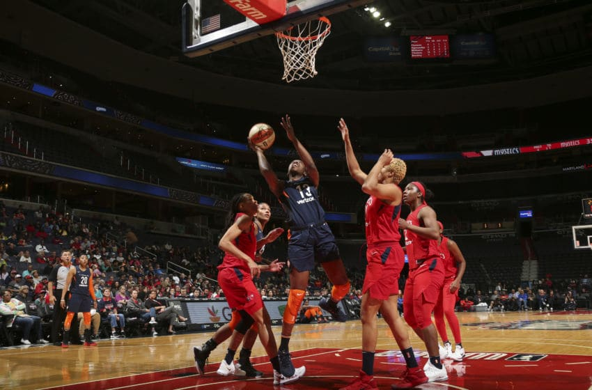 WASHINGTON, DC - JUNE 3: Chiney Ogwumike #13 of the Connecticut Sun shoots the ball against the Washington Mystics on June 3, 2018 at the Capital One Arena in Washington, DC. NOTE TO USER: User expressly acknowledges and agrees that, by downloading and or using this photograph, User is consenting to the terms and conditions of the Getty Images License Agreement. Mandatory Copyright Notice: Copyright 2018 NBAE (Photo by Ned Dishman/NBAE via Getty Images)