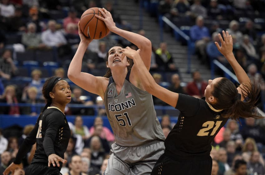 Connecticut's Natalie Butler (51) is called for foul on UCF's Makenzi Reasor (21) during the second half at the XL Center in Hartford, Conn., on Wednesday, Jan. 20, 2016. UConn won, 106-51. (John Woike/Hartford Courant/TNS via Getty Images)