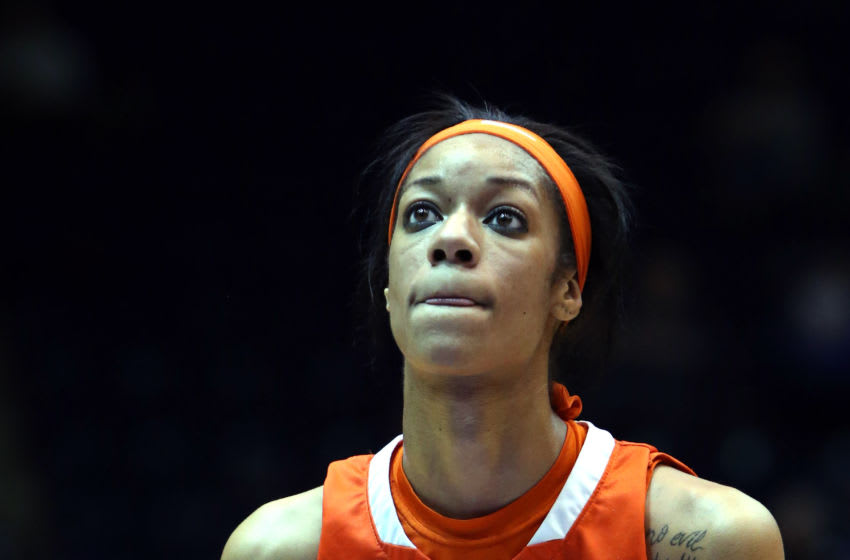 08 January 2015: Syracuse's Briana Day. The Duke University Blue Devils hosted the Syracuse University Orange at Cameron Indoor Stadium in Durham, North Carolina in a 2014-15 NCAA Division I Women's Basketball game. Duke won the game 74-72. (Photo by Andy Mead/YCJ/Icon Sportswire/Corbis via Getty Images)