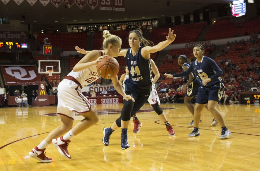 NORMAN, OK - DECEMBER 04: University of Oklahoma player Peyton Little (10) dribbles the ball past Oral Roberts University player Maria Martianez (44) during the Oral Roberts University vs University of Oklahoma NCAA Women's Basketball game December 4, 2016, at the Lloyd Noble Center in Norman, OK.(Photo by Richard Rowe/Icon Sportswire via Getty Images)