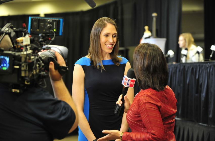 GLENDALE, AZ - APRIL 1: Television basketball analyst and former women's basketball player Rebecca Lobo is interviewed at the Basketball Hall of Fame Class of 2017 Media Event on April 1, 2017, at Westgate in Glendale, Arizona. NOTE TO USER: User expressly acknowledges and agrees that, by downloading and or using this Photograph, user is consenting to the terms and conditions of the Getty Images License Agreement. Mandatory Copyright Notice: Copyright 2017 NBAE (Photo by Barry Gossage/NBAE via Getty Images)