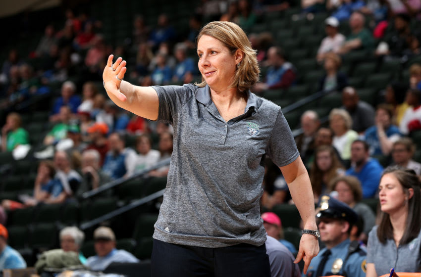 ST. PAUL, MN - MAY 5: Cheryl Reeve of the Minnesota Lynx signals to her team during the game against the Atlanta Dream during the preseason WNBA game on May 5, 2017 at Xcel Energy Center in St. Paul, Minnesota. NOTE TO USER: User expressly acknowledges and agrees that, by downloading and or using this Photograph, user is consenting to the terms and conditions of the Getty Images License Agreement. Mandatory Copyright Notice: Copyright 2017 NBAE (Photo by David Sherman/NBAE via Getty Images)