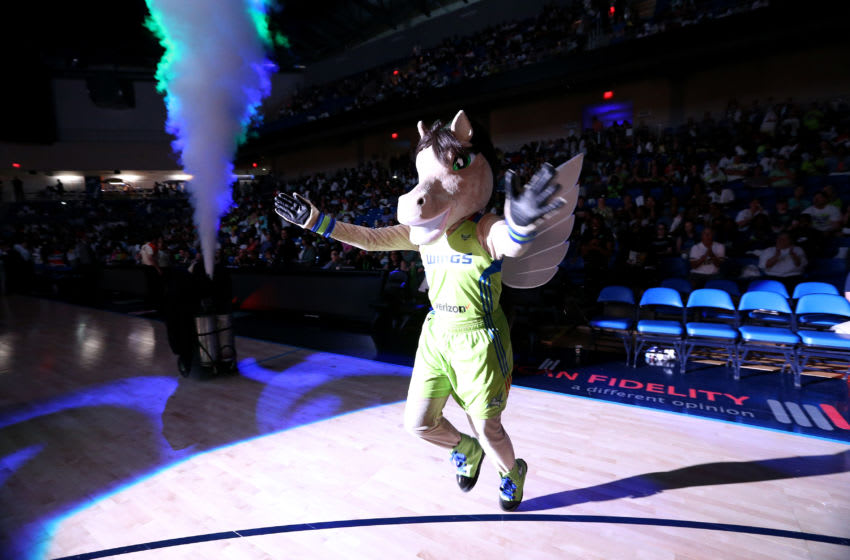 ARLINGTON, TX - MAY 20: The Dallas Wings mascot entertains the crowd before the game against the Minnesota Lynx in a WNBA game on May 20, 2017 at College Park Center in Arlington, Texas. NOTE TO USER: User expressly acknowledges and agrees that, by downloading and or using this photograph, user is consenting to the terms and conditions of the Getty Images License Agreement. Mandatory Copyright Notice: Copyright 2017 NBAE (Photos by Layne Murdoch/NBAE via Getty Images)