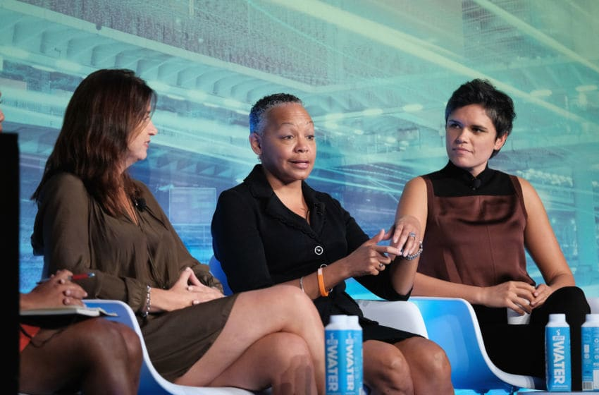 NEW YORK, NY - SEPTEMBER 29: SVP, espnW and Women's Initiatives espnW Laura Gentile, President WNBA Lisa Borders and Sports Reporter ESPN Kate Fagan speak at the Why Are We Still Talking About This? Women