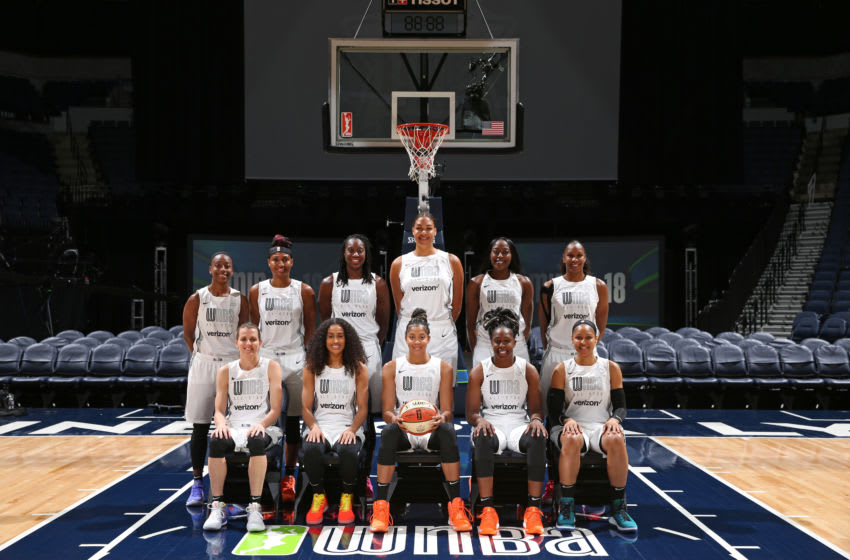 MINNEAPOLIS - JULY 28: Back Row (L-R) Jewell Loyd, Angel McCoughtry, Tina Charles, Liz Cambage, Chiney Ogwumike, Rebekkah Brunson. Front Row (L-R) Allie Quigley, Skylar Diggins-Smith, Candace Parker, Chelsea Gray, and Maya Moore of Team Parker pose for a photo during the Verizon WNBA All-Star Game on July 28, 2018 at the Target Center in Minneapolis, Minnesota. NOTE TO USER: User expressly acknowledges and agrees that, by downloading and/or using this photograph, user is consenting to the terms and conditions of the Getty Images License Agreement. Mandatory Copyright Notice: Copyright 2018 NBAE (Photo by David Sherman/NBAE via Getty Images)