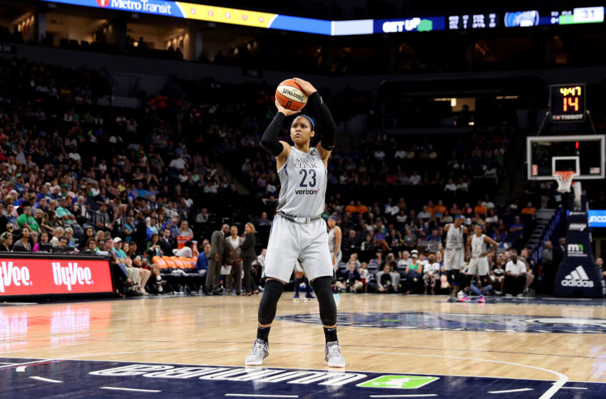 MINNEAPOLIS, MN - AUGUST 5: Maya Moore #23 of the Minnesota Lynx shoots the ball during the game against the Atlanta Dream on August 05, 2018 at Target Center in Minneapolis, Minnesota. NOTE TO USER: User expressly acknowledges and agrees that, by downloading and or using this Photograph, user is consenting to the terms and conditions of the Getty Images License Agreement. Mandatory Copyright Notice: Copyright 2018 NBAE (Photo by Jordan Johnson/NBAE via Getty Images)
