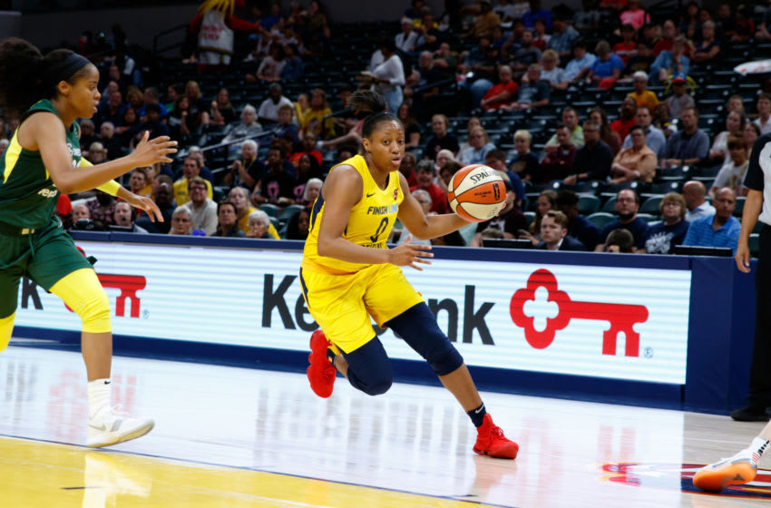 INDIANAPOLIS, IN - AUGUST 7: Kelsey Mitchell #0 of the Indiana Fever handles the ball during the game against the Seattle Storm on August 7, 2018 at Bankers Life Fieldhouse in Indianapolis, Indiana. (Photo by Justin Casterline/Getty Images)