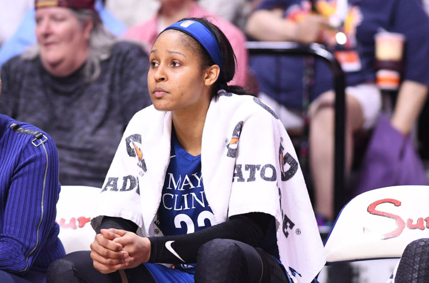 UNCASVILLE, CT - AUGUST 17: Maya Moore #23 of the Minnesota Linx during the game against the Connecticut Sun on August 17, 2018 at the Mohegan Sun Arena in Uncasville, Connecticut. NOTE TO USER: User expressly acknowledges and agrees that, by downloading and/or using this Photograph, user is consenting to the terms and conditions of the Getty Images License Agreement. (Photo by Matteo Marchi/Getty Images)
