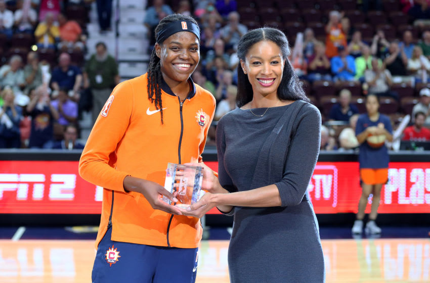 UNCASVILLE, CT - AUGUST 23: Connecticut Sun forward Jonquel Jones (35) presented with the Sixth Woman of the Year Award prior to the second round of the WNBA playoff game between Phoenix Mercury and Connecticut Sun on August 23, 2018, at Mohegan Sun Arena in Uncasville, CT. Phoenix won 96-86. (Photo by M. Anthony Nesmith/Icon Sportswire via Getty Images)