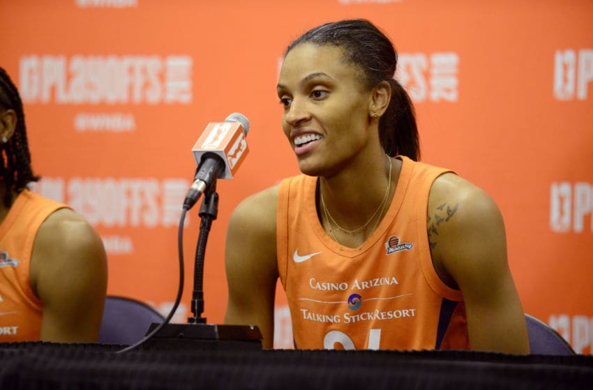 PHOENIX, AZ - AUGUST 31: DeWanna Bonner #24 of the Phoenix Mercury talks with media after the game against the Seattle Storm during Game Three of the WNBA Semifinals on August 31, 2018 at Talking Stick Resort Arena in Phoenix, Arizona. NOTE TO USER: User expressly acknowledges and agrees that, by downloading and or using this Photograph, user is consenting to the terms and conditions of the Getty Images License Agreement. Mandatory Copyright Notice: Copyright 2018 NBAE (Photo by Barry Gossage/NBAE via Getty Images)
