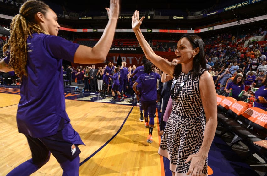 PHOENIX, AZ - SEPTEMBER 2: Brittney Griner #42 of the Phoenix Mercury high-fives Head Coach Sandy Brondello during Game Four of the 2018 WNBA Semifinals on September 02, 2018 at Talking Stick Resort Arena in Phoenix, AZ. NOTE TO USER: User expressly acknowledges and agrees that, by downloading and or using this photograph, User is consenting to the terms and conditions of the Getty Images License Agreement. Mandatory Copyright Notice: Copyright 2018 NBAE (Photo by Barry Gossage/NBAE via Getty Images)
