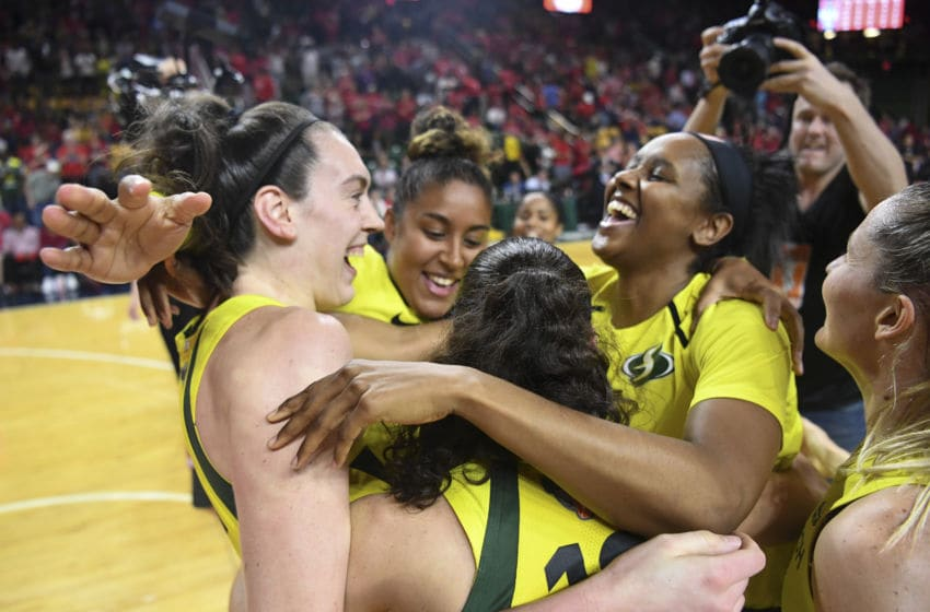 FAIRFAX, VA - SEPTEMBER 12: The Seattle Storm celebrate after winning Game 3 of the WNBA Finals between the Washington Mystics and the Seattle Storm at George Mason University on September 12, 2018, in Fairfax, VA. The Seattle Storm swept the Washington Mystics in three games in win the title. (Photo by Jonathan Newton/The Washington Post via Getty Images)