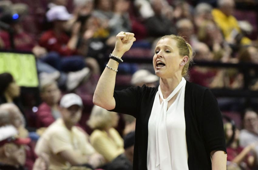 TALLAHASSEE, FL - FEBRUARY 03: Jen Hoover women's head coach Wake Forest University Demon Deacons signals a player into the Atlantic Coast Conference (ACC) match-up with the Florida State (FSU) Seminoles, Sunday, February 3, 2019, at Donald Tucker Center in Tallahassee, Florida. (Photo by David Allio/Icon Sportswire via Getty Images)