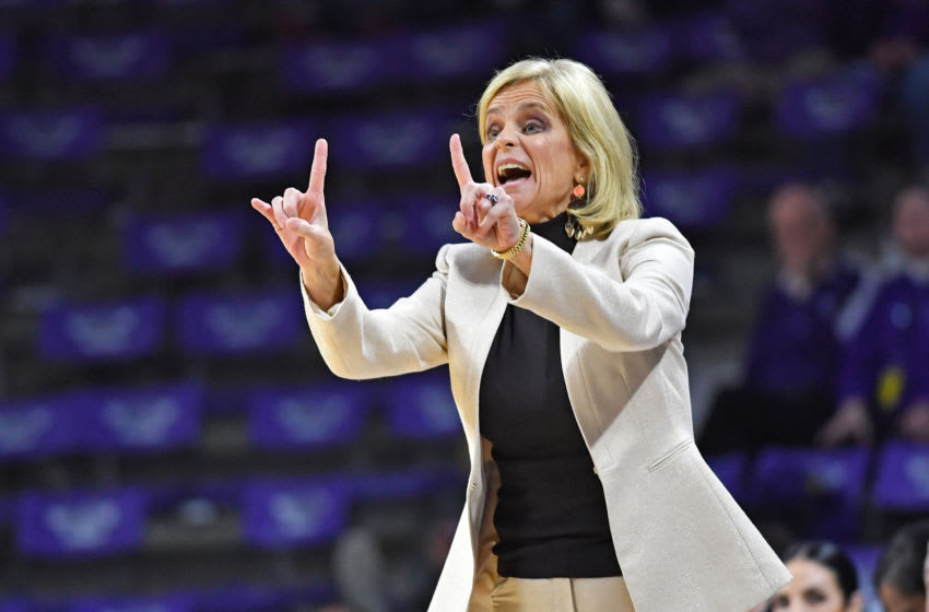 MANHATTAN, KS - FEBRUARY 13: Head coach Kim Mulkey of the Baylor Bears instructs her team during the first half against the Kansas State Wildcats on February 13, 2019 at Bramlage Coliseum in Manhattan, Kansas. (Photo by Peter G. Aiken/Getty Images)