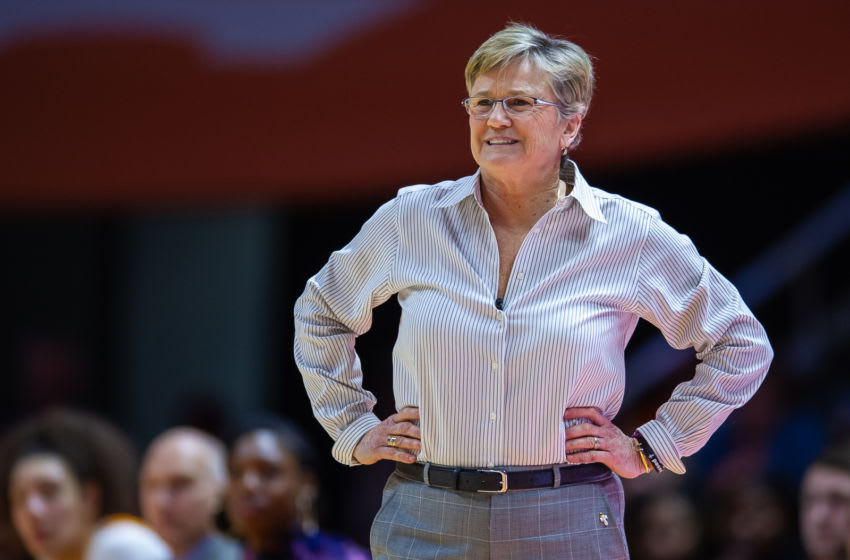 KNOXVILLE, TN - FEBRUARY 24: Tennessee Lady Vols head coach Holly Warlick coaching during a college basketball game between the Tennessee Lady Vols and the South Carolina Gamecocks on February 24, 2019, at Thompson-Boling Arena in Knoxville, TN. (Photo by Bryan Lynn/Icon Sportswire via Getty Images)