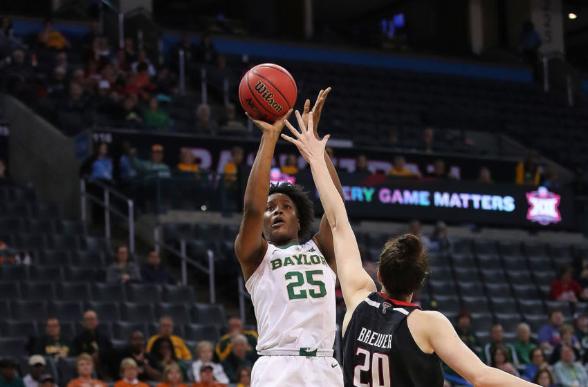 OKLAHOMA CITY, OK - MARCH 09: Baylor Bears Center Queen Egbo (25) shoots over Texas Tech Red Raiders Forward Brittany Brewer (20) during the BIG12 Women's basketball tournament between the Baylor and the Texas Tech on March 9, 2019, at the Chesapeake Energy Arena in Oklahoma City, OK. (Photo by David Stacy/Icon Sportswire via Getty Images)