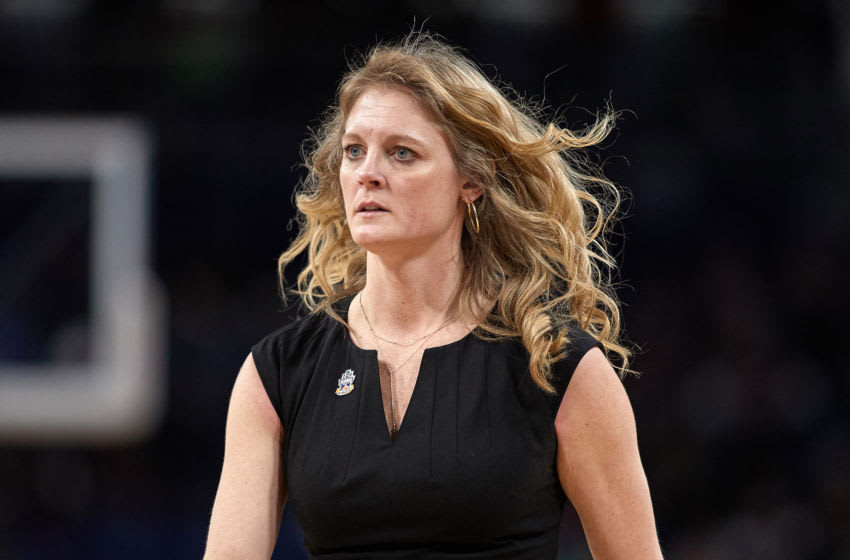 CHICAGO, IL - MARCH 30: Missouri State Lady Bears head coach Kellie Harper looks on in game action during the Women's NCAA Division I Championship - Third Round game between the Missouri State Lady Bears and the Stanford Cardinal on March 30, 2019 at the Wintrust Arena in Chicago, IL. (Photo by Robin Alam/Icon Sportswire via Getty Images)